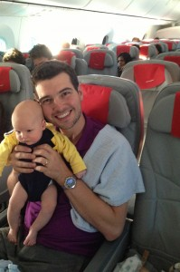 2 month old Daniel on his first flight to Norway