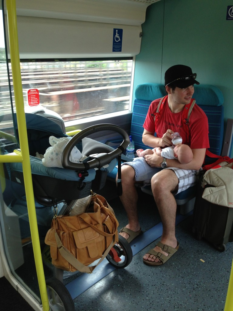 Our first train ride with Daniel (six weeks old) heading down to East Sussex