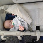 Daniel enjoying some zzzs on the plane