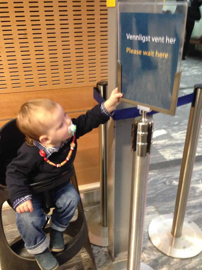 A great help when going through the security line - a high chair at Oslo's airport